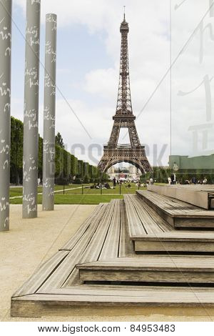 Columns with tower in the background, Eiffel Tower, Champ De Mars, Paris, France