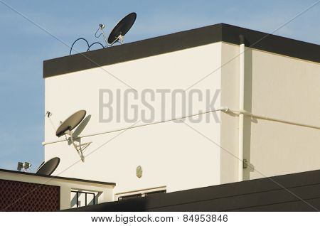 Low angle view of satellite dishes on a house, Tirupati, Andhra Pradesh, India