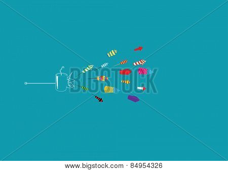 Diwali firecrackers isolated on colored background