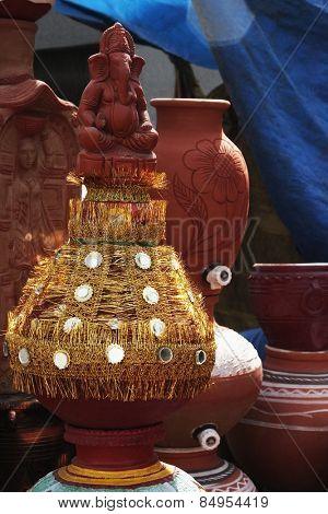 Decorative pots at a market stall, Delhi, India