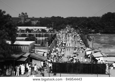 High angle view of market at roadside, Jama Masjid, Delhi, India