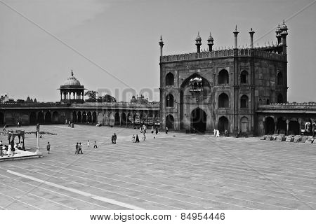 Courtyard of a mosque, Jama Masjid, Delhi, India