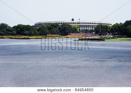 Government building at the roadside, Sansad Bhavan, New Delhi, India