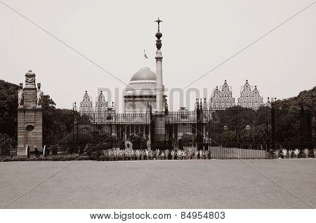 Facade of a government building, Rashtrapati Bhavan, Rajpath, New Delhi, India