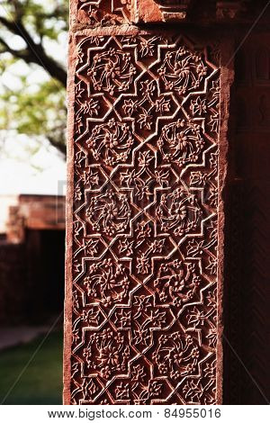 Architectural detail of a column in a palace, Fatehpur Sikri, Agra, Uttar Pradesh, India