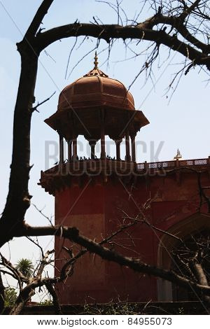 Low angle view of a mausoleum, Tomb Of Akbar The Great, Sikandra, Agra, Uttar Pradesh, India