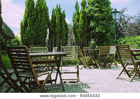 Tables and chairs in a restaurant, Adare, County Limerick, Republic of Ireland