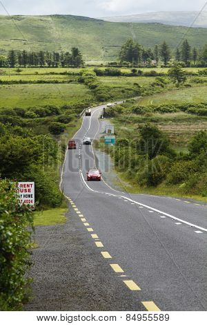 Cars on the road, Ring Of Kerry, County Kerry, Republic of Ireland