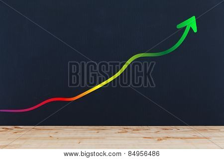 Blackboard Background With Graph Arrow