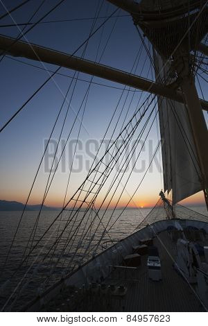 Clipper ship in the sea, Amalfi, Province Of Salerno, Gulf Of Salerno, Tyrrhenian Sea, Campania, Italy