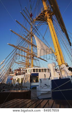 Clipper ship, Amalfi, Province Of Salerno, Gulf Of Salerno, Tyrrhenian Sea, Campania, Italy