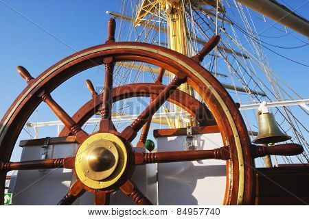 Close-up of the helm of a clipper ship, Amalfi, Province Of Salerno, Gulf Of Salerno, Tyrrhenian Sea, Campania, Italy