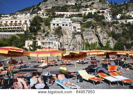 Tourists on the beach, Amalfi, Province Of Salerno, Gulf Of Salerno, Tyrrhenian Sea, Campania, Italy