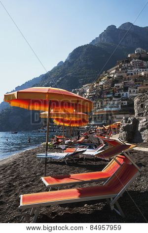 Reclining chairs on the beach, Amalfi, Province Of Salerno, Gulf Of Salerno, Tyrrhenian Sea, Campania, Italy