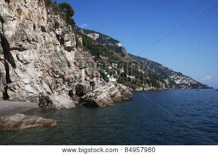 Cliffs at seaside, Amalfi, Province Of Salerno, Gulf Of Salerno, Tyrrhenian Sea, Campania, Italy
