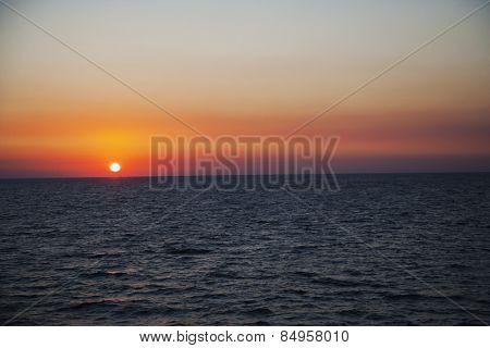 Sunset, Amalfi, Province Of Salerno, Gulf Of Salerno, Tyrrhenian Sea, Campania, Italy