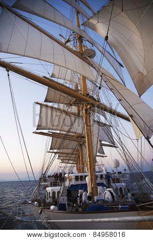 Clipper ship in the sea, Amalfi, Province Of Salerno, Gulf Of Salerno, Tyrrhenian Sea, Campania, Italy