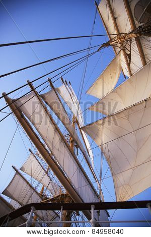 Sail of a clipper ship, Amalfi, Province Of Salerno, Gulf Of Salerno, Tyrrhenian Sea, Campania, Italy