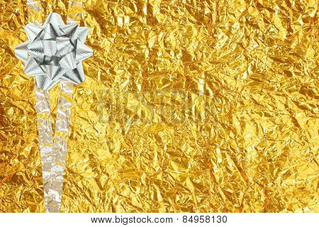 Shiny Yellow Leaf Gold And  Silver Ribbon
