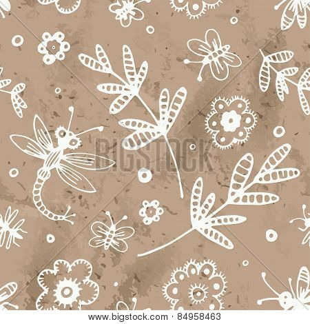 Abstract Seamless Background, Flowers And Insects Hand Drawn Pattern