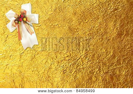 Shiny Yellow Leaf Gold And  White Ribbon