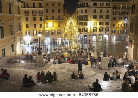Tourists sitting on Spanish Steps, Piazza Di Spagna, Rome, Lazio, Italy