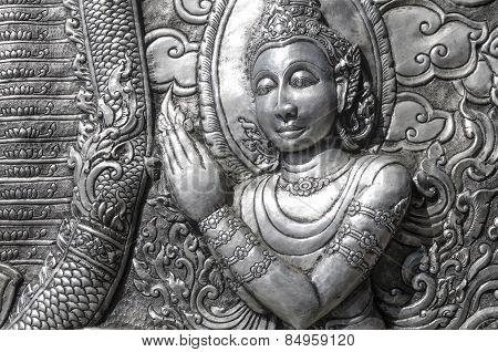 Ancient Thai Metal Temple Wall Sculpture