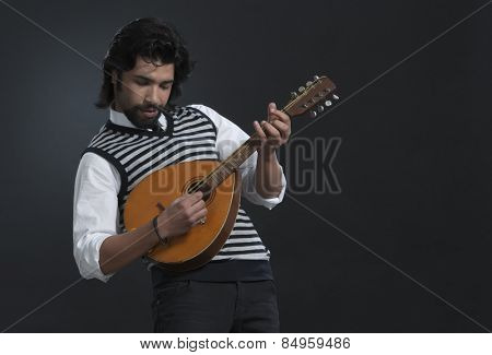 Musician playing a lute