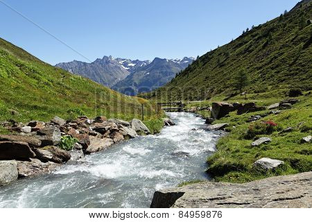 Mountain Stream In Very Bright Light