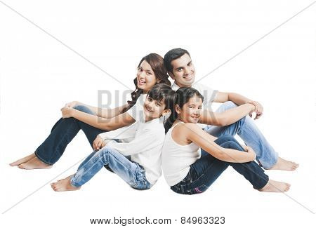 Portrait of a happy family sitting together