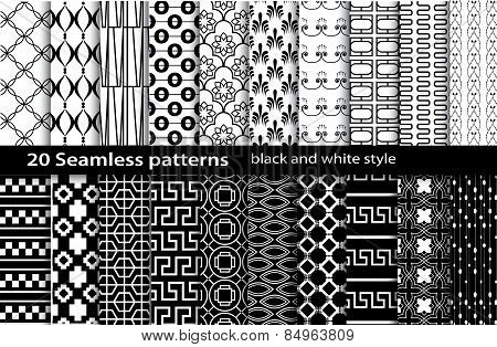 20 Seamless Pattern Black And White