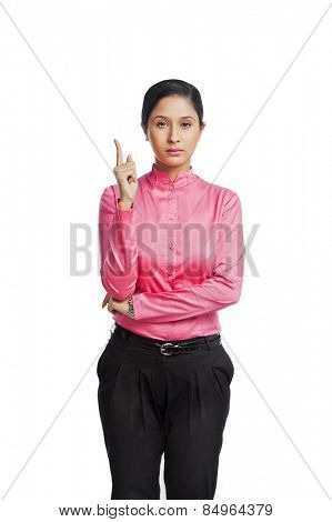 Portrait of a businesswoman gesturing