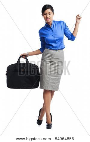 Businesswoman walking consciously