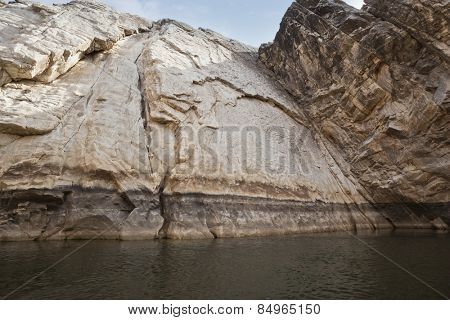 Marble rocks alongside Narmada River, Bhedaghat, Jabalpur District, Madhya Pradesh, India