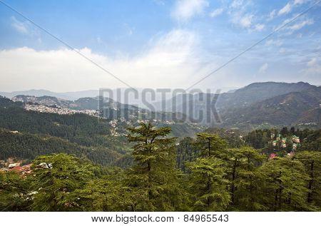 High angle view of mountains, Shimla, Himachal Pradesh, India