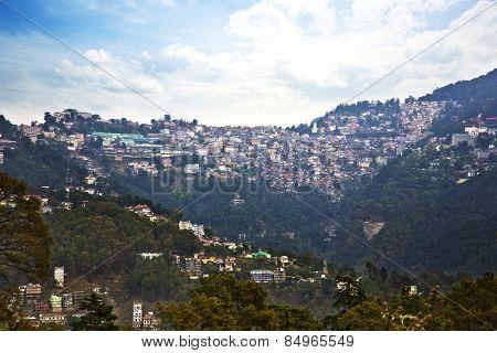 High angle view of buildings on a mountain, Shimla, Himachal Pradesh, India