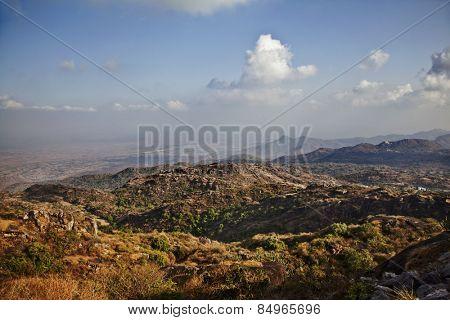 Clouds over Guru Shikhar, Arbuda Mountains, Mount Abu, Sirohi District, Rajasthan, India