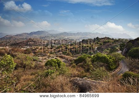 Clouds over Guru Shikhar, Arbuda Mountains, Mount Abu, Sirohi District, Rajasthan, India