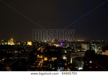 City lit up at night, Chennai, Tamil Nadu, India