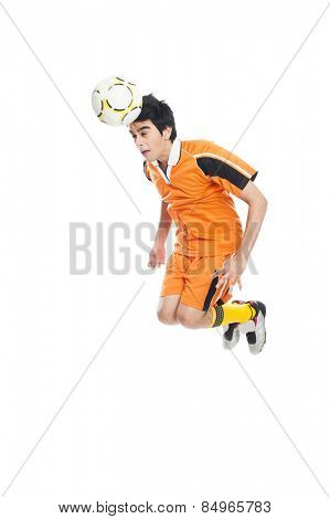 Soccer player heading a soccer ball