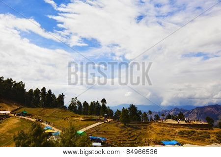 Tourists on a hill, Kufri, Shimla, Himachal Pradesh, India