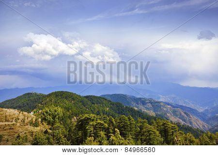 Trees with mountain range in the background, Kufri, Shimla, Himachal Pradesh, India