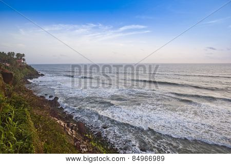 Surf on the beach, Varkala, Kerala, India