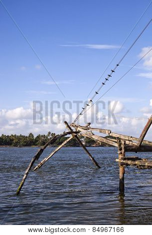 Chinese fishing nets at a harbor, Cochin, Kerala, India