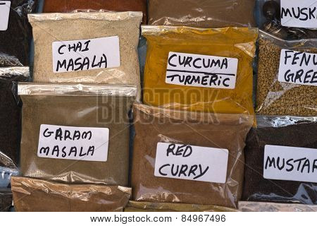 Spices in plastic bags for sale, Pushkar, Ajmer, Rajasthan, India