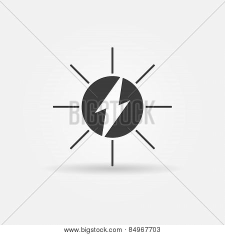 Solar energy black vector icon