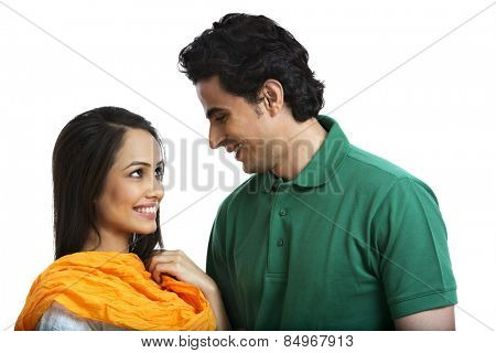 Couple looking at each other and smiling