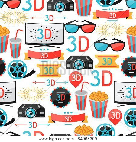 Seamless pattern of film and cinema icons
