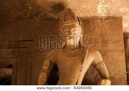 Statue at Elephanta Caves, Maharashtra, India