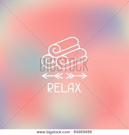Spa relax label on blurred background